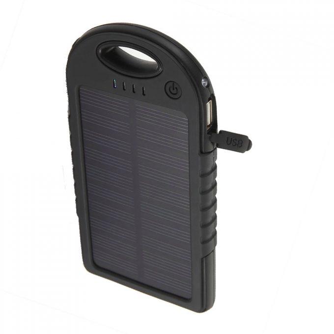 Power Bank - Cargador de Emergencia Con Panel Solar  12000mah  2 Puertos Usb