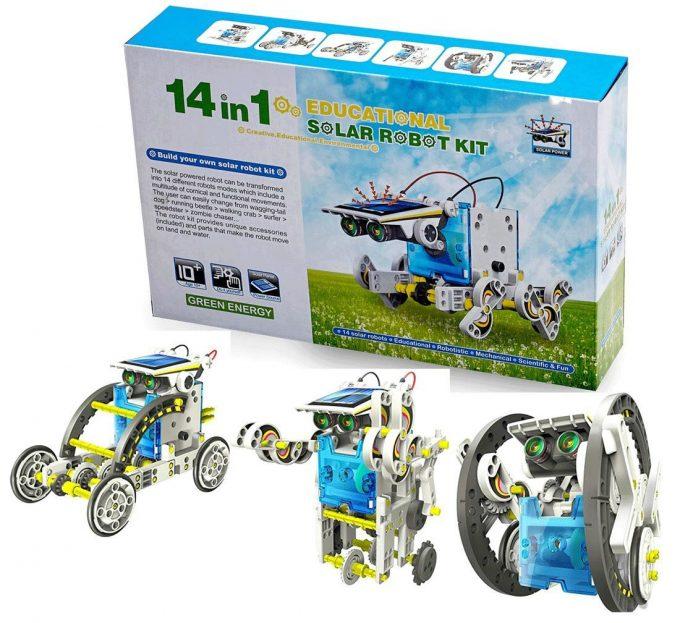 Kit Solar Robot Educativo 14 en 1 energía solar recargable Espacio Robot modelo de juguete
