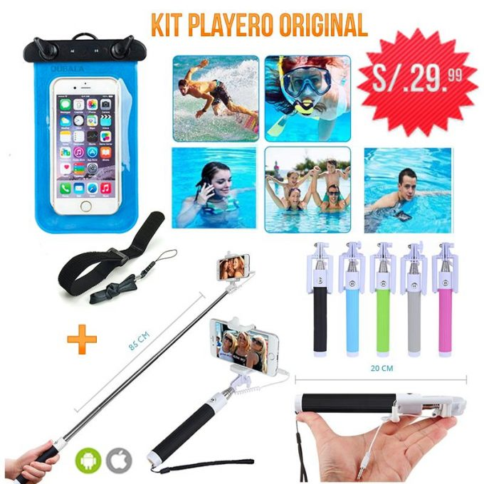 Kit Playero  - Funda Acuática + Monopod con Cable