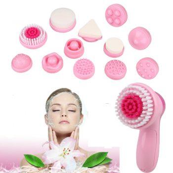 Masajeador 12 En 1 - Facial 12 Accesorios Cutis Rostro Y Cuello + Limpieza Facial - Rosado