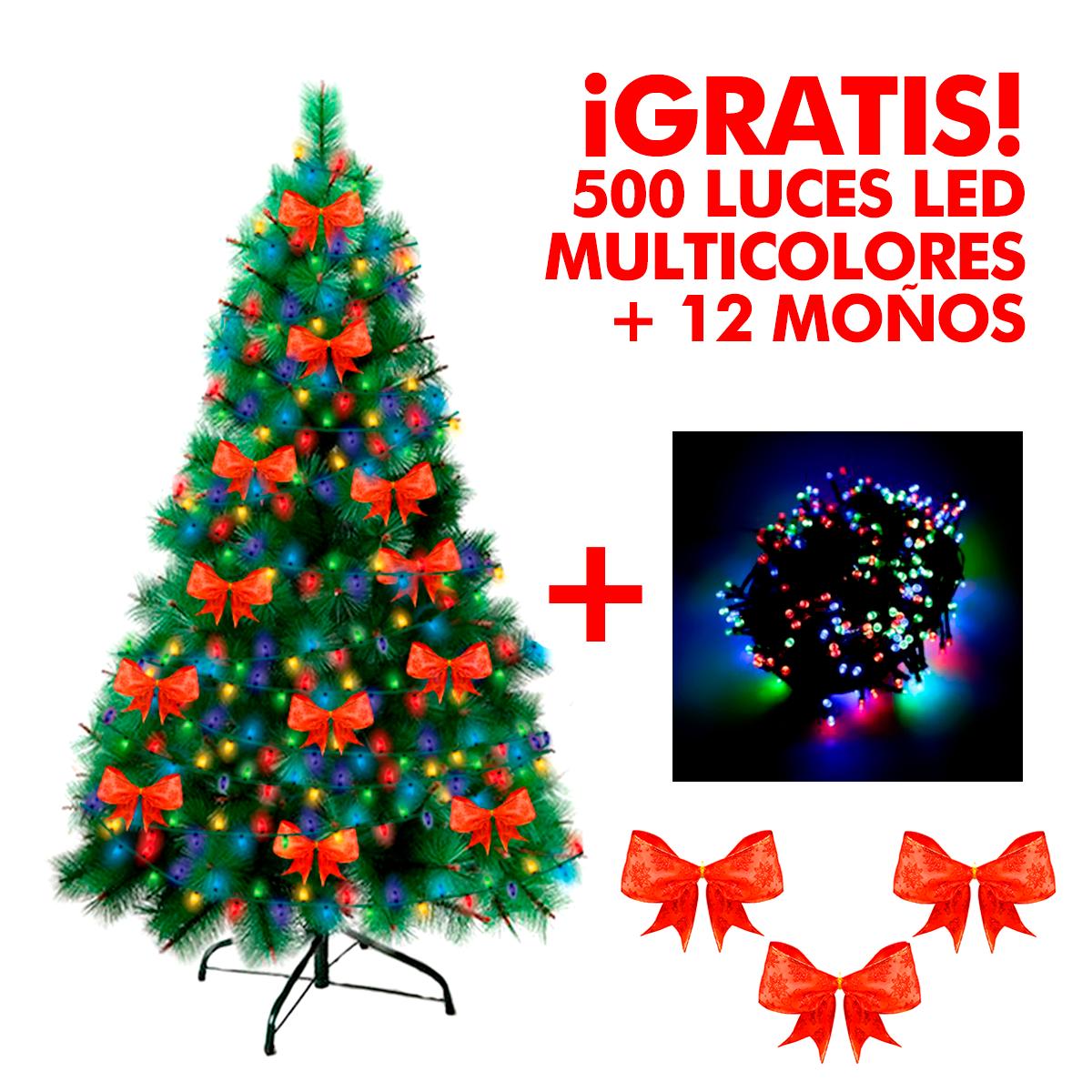 Arbol de navidad pino 500 luces led de navidad lazos digitalcrazy - Luces arbol de navidad ...